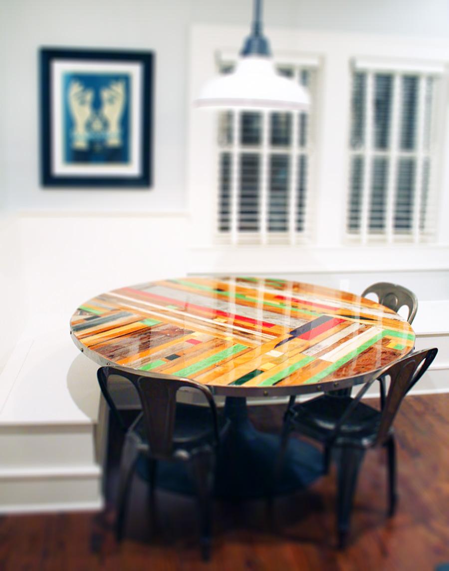Round Chevron table with epoxy