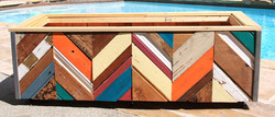 Colorful reclaimed-wood planter