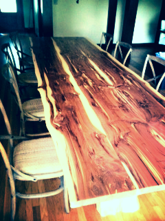 Natural-edge cedar dining table