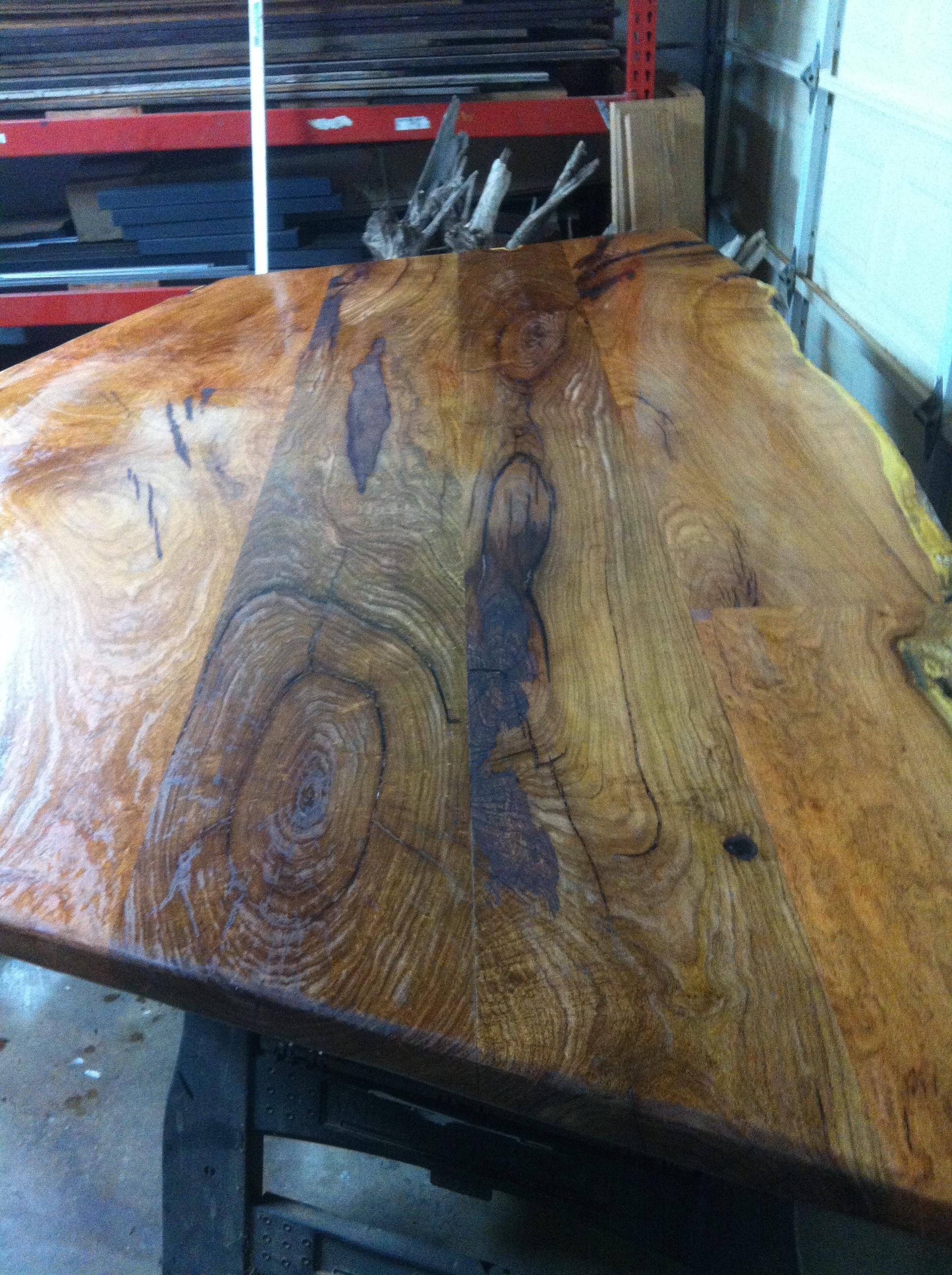 Custom mesquite banquette table