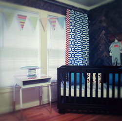 Herringbone reclaimed wood nursery