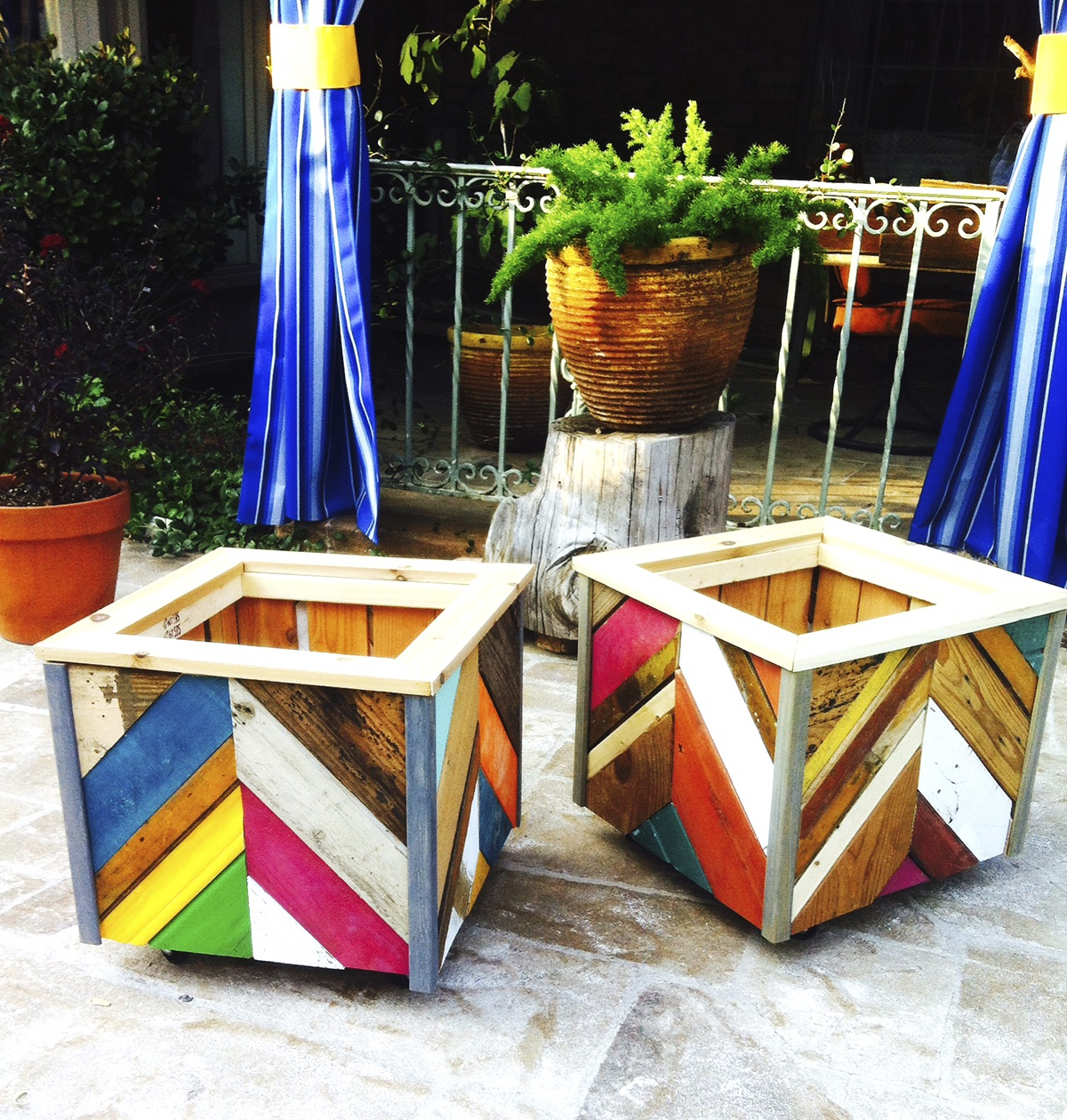 Colorful, reclaimed-wood planters