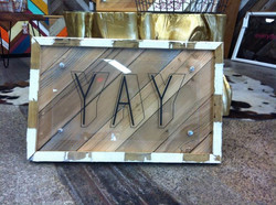 Yay! Reclaimed wood and lucite
