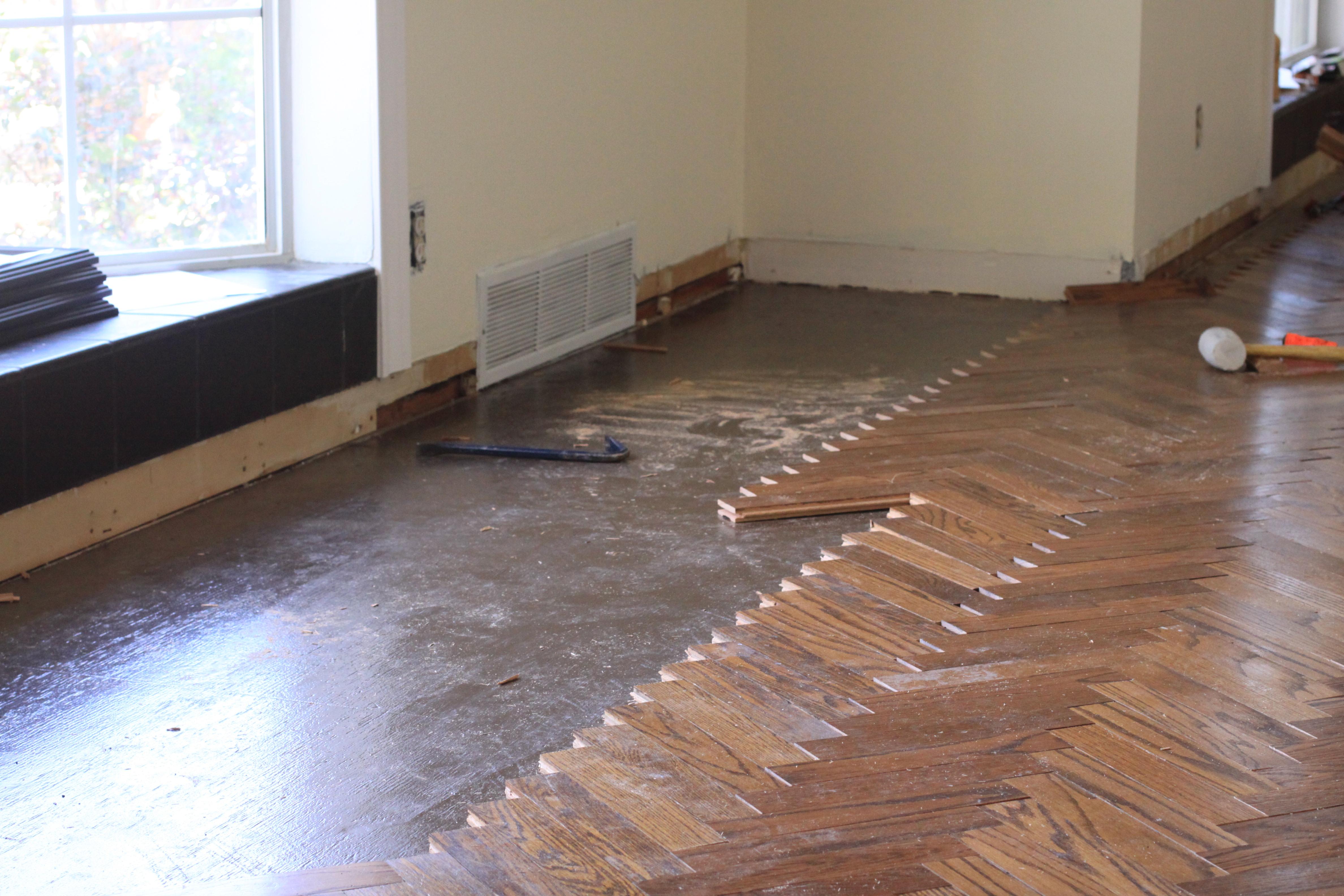 Recaimed oak herringbone floor