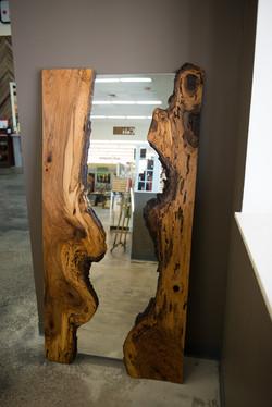 Natural edge pecan mirror
