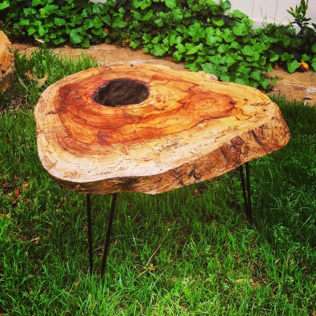 Pecan side table