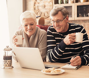 Cheerful senior couple looking at laptop