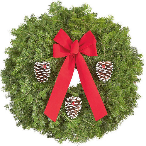 """25"""" Wreath w/ 3 pine cones/berries/red bow"""