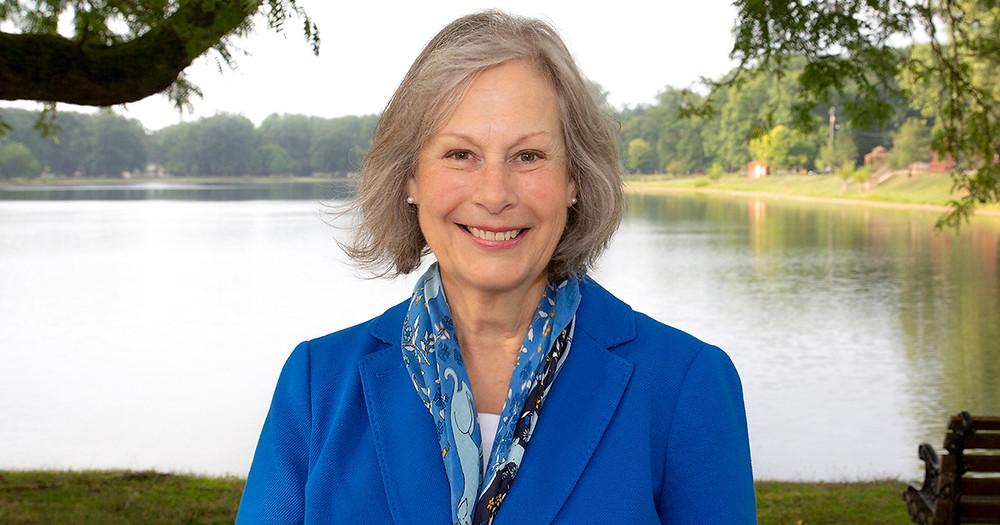 Photo of Nancy Larson in a park.