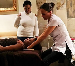 Nathalie Cecilia teaching Bamboo-Fusion Massage class