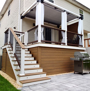 composite deck with white fascia and canopy