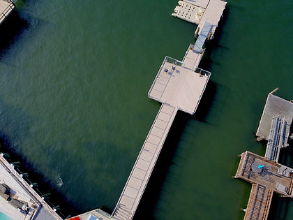 large composite water dock with cable railings