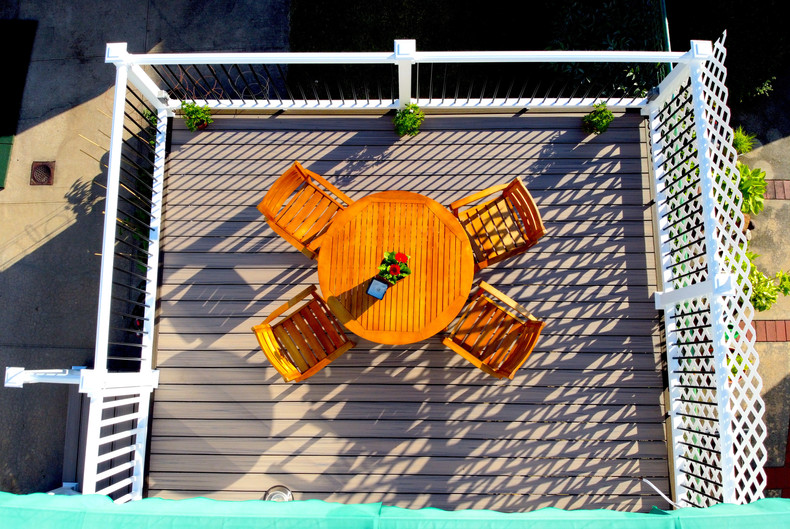 top view on small backyard deck