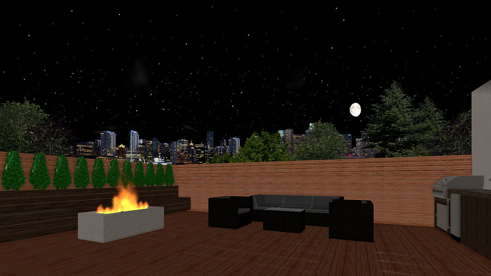computer rendering of compoosite deck design with firepit
