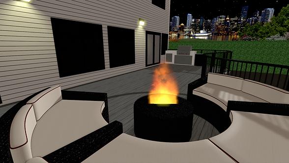 computer rendering of composite deck with outdoor kitchen