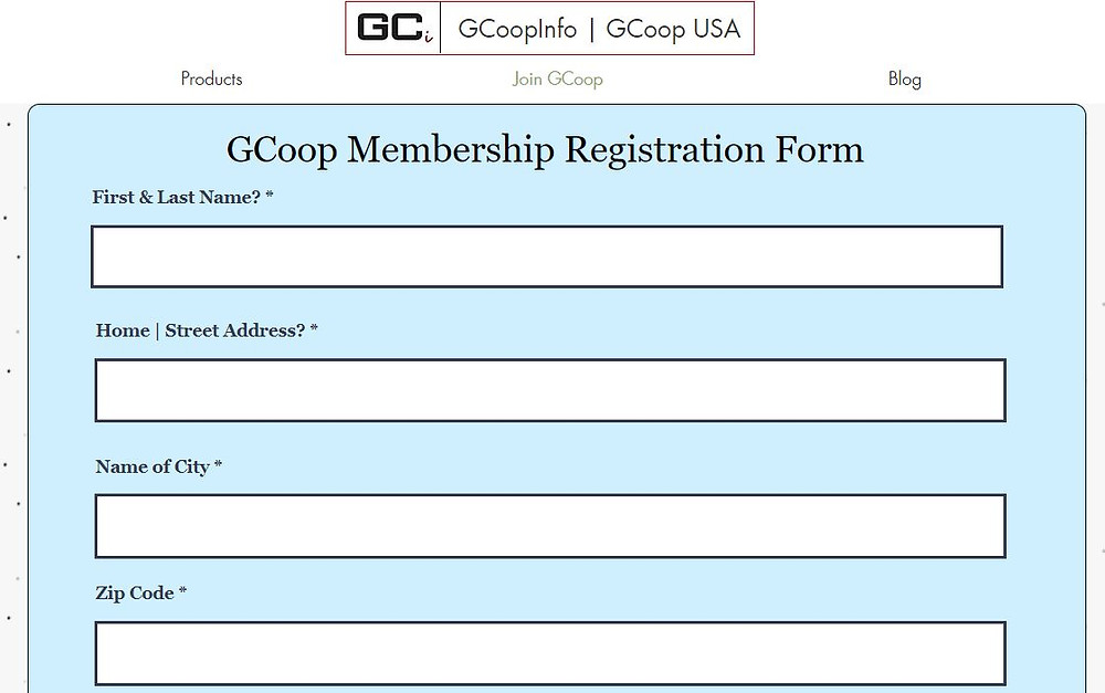 GCoop Registration Form