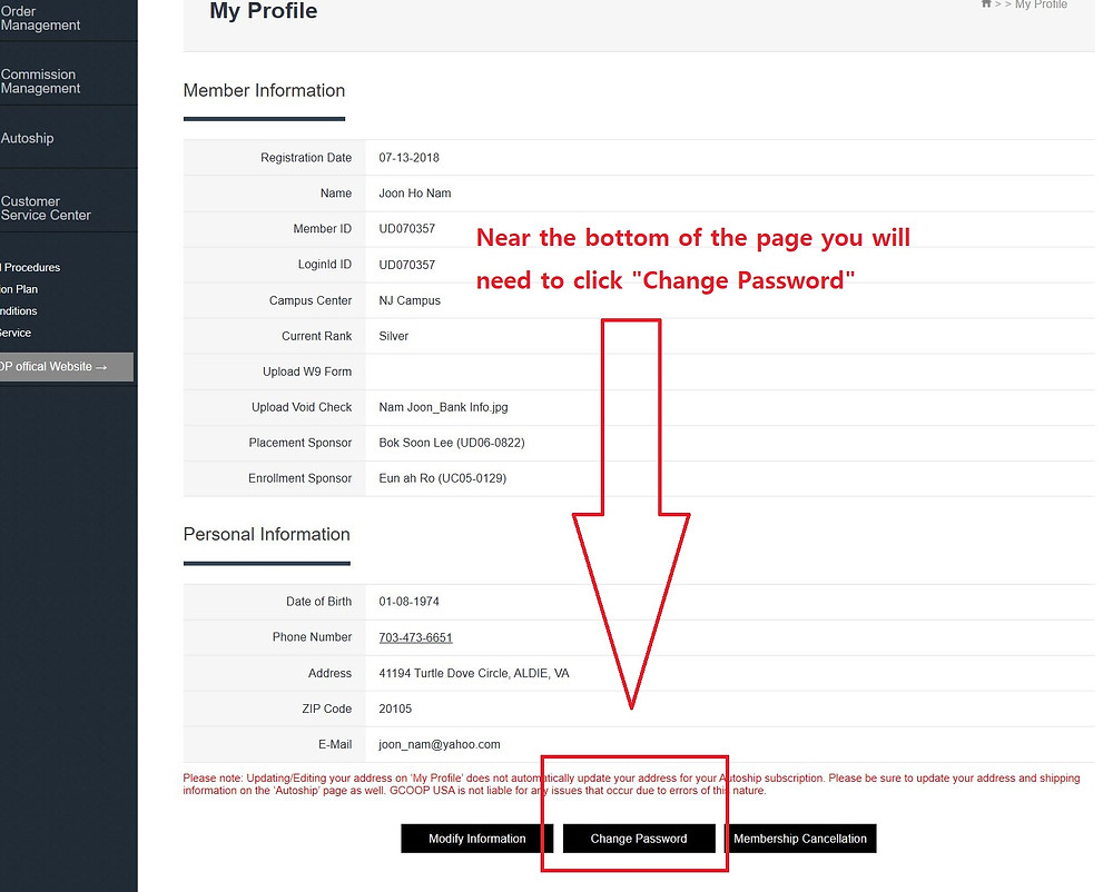 GCoop Change Password Button