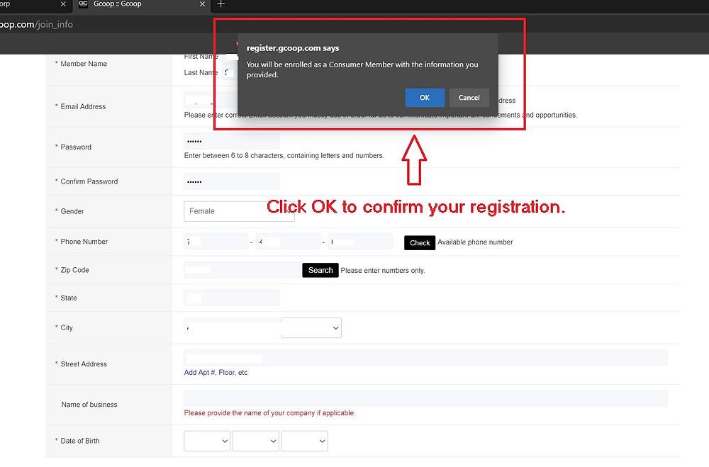 Confirmation of GCoop Membership