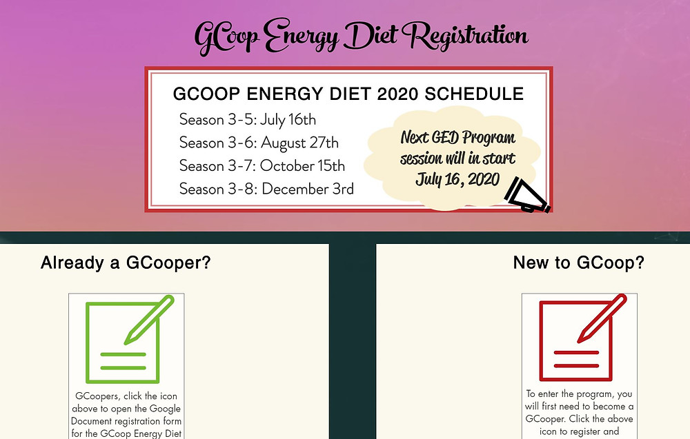 GCoop Energy Diet Registration