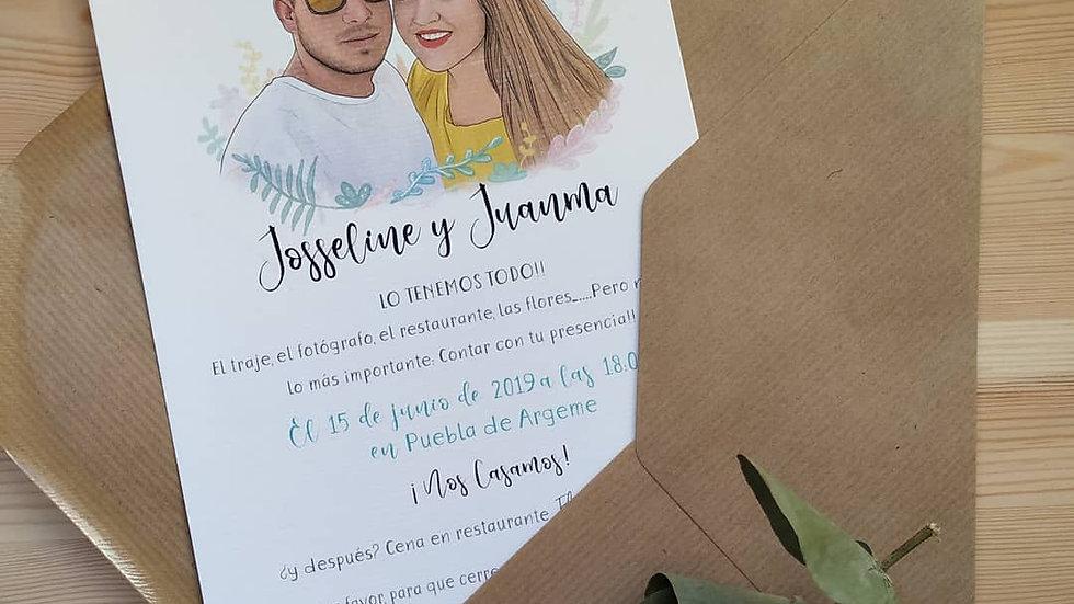 Invitación de boda modelo Color una cara