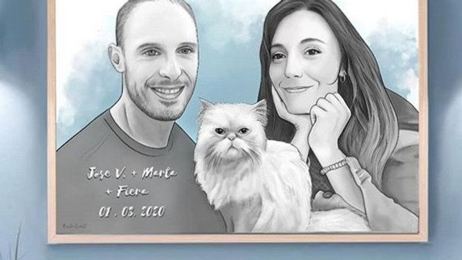 DIGITAL: Retrato Tinta 3 personas o Pareja + Macota