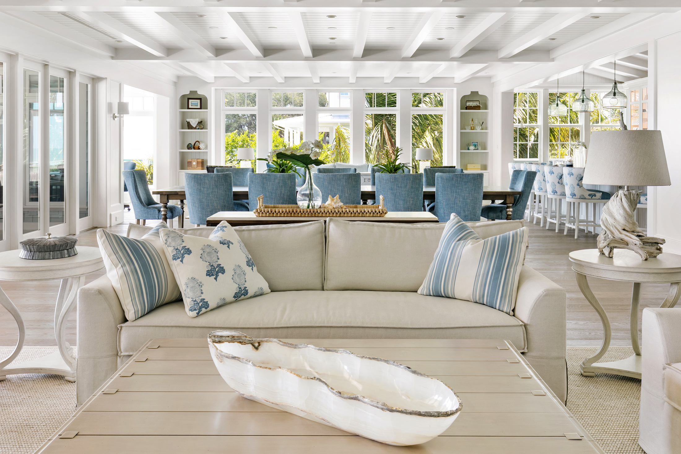 Coastal influenced open concept great room