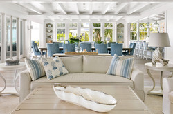 Coastal influenced open concept great room