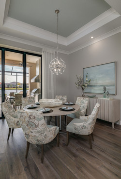 Modern dining room in greys and blues