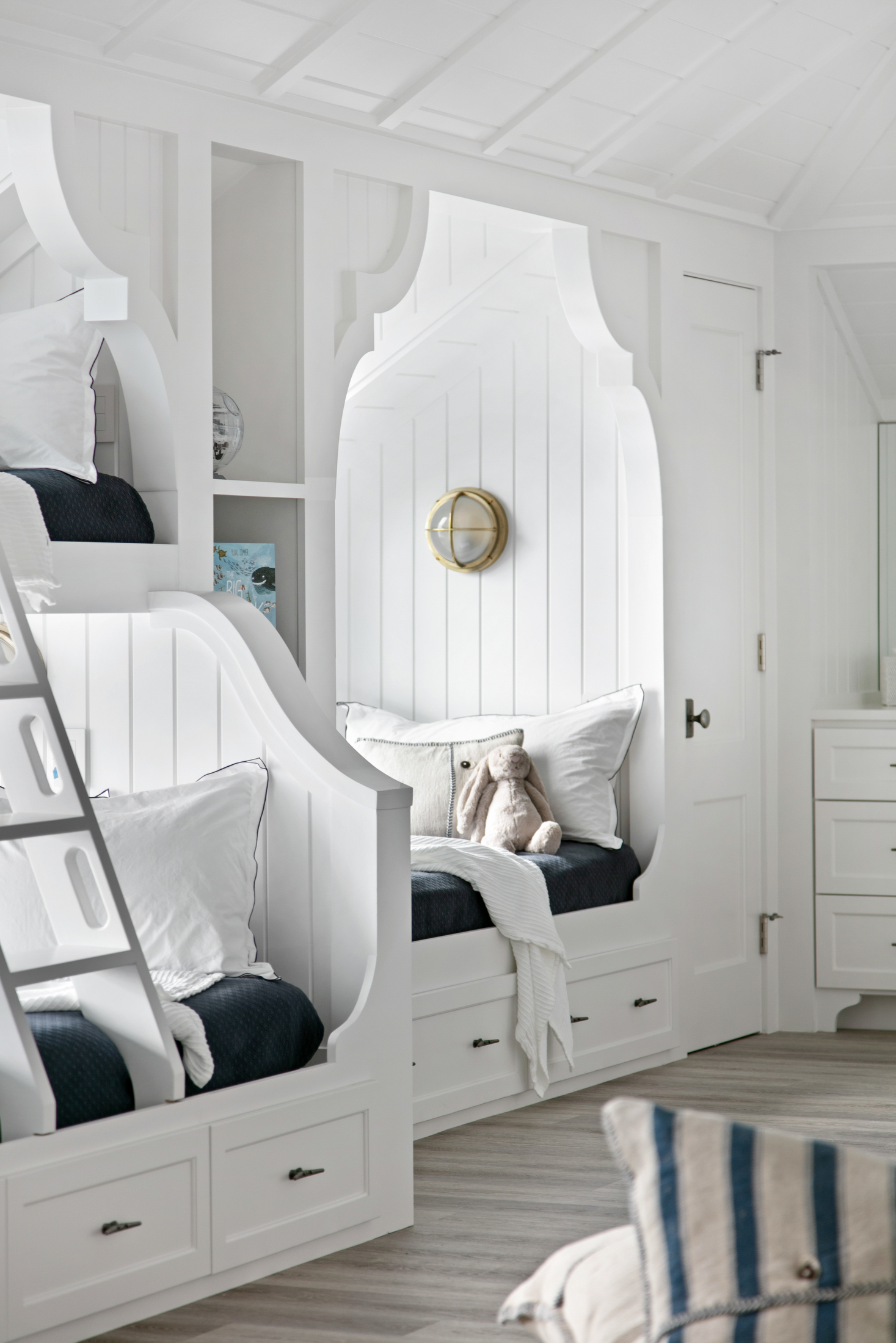Closeup of kids' bunk bed design elements