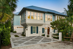 Coastal modern home with navy and aqua accents