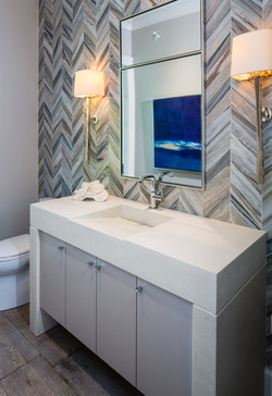 BAthroom with chevron accent wall