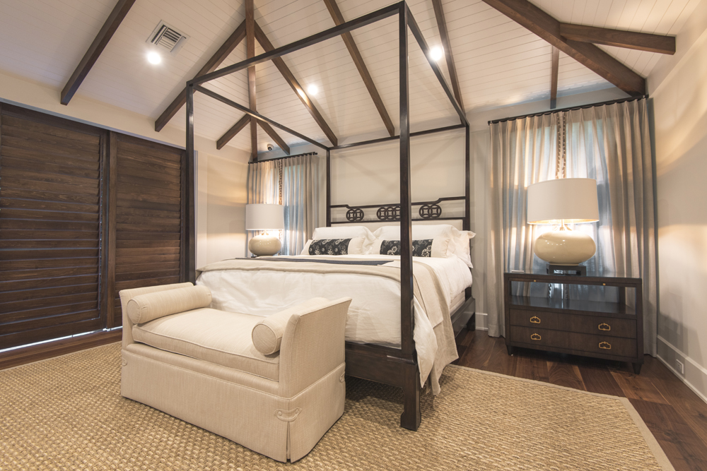 Vaulted ceiling bedroom in neutral tones