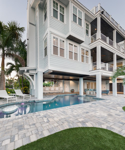 Pool beneath luxury villa home