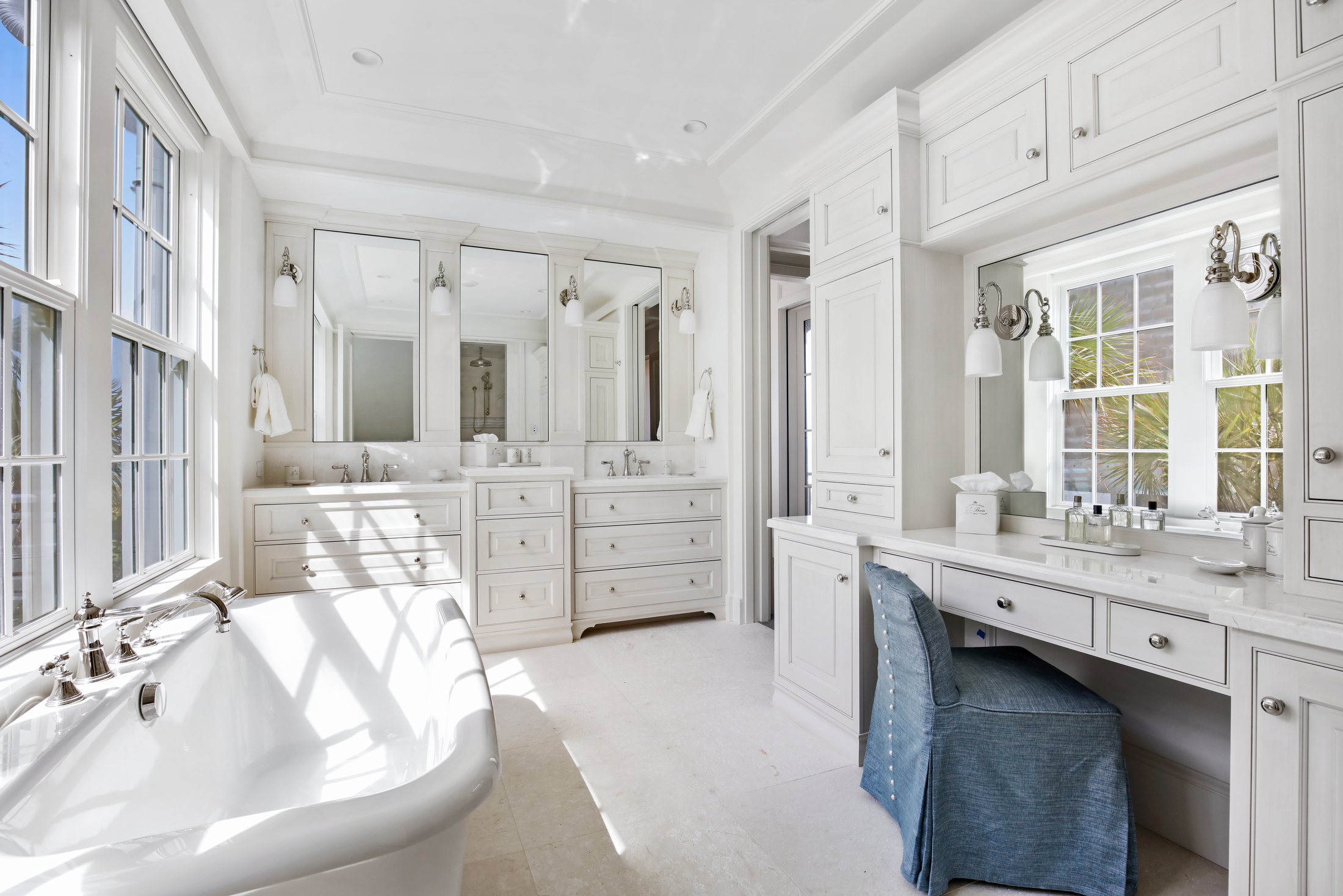 Large master bathroom with soaking tub and vanity space