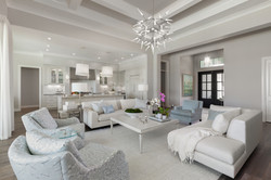 Modern great room in grey and white tones