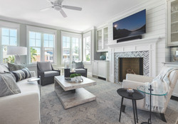 Living room in modern grey and white tones