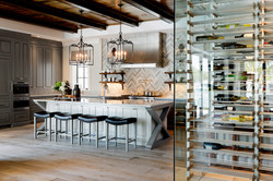 Contemporary kitchen with modern chevron accent wall