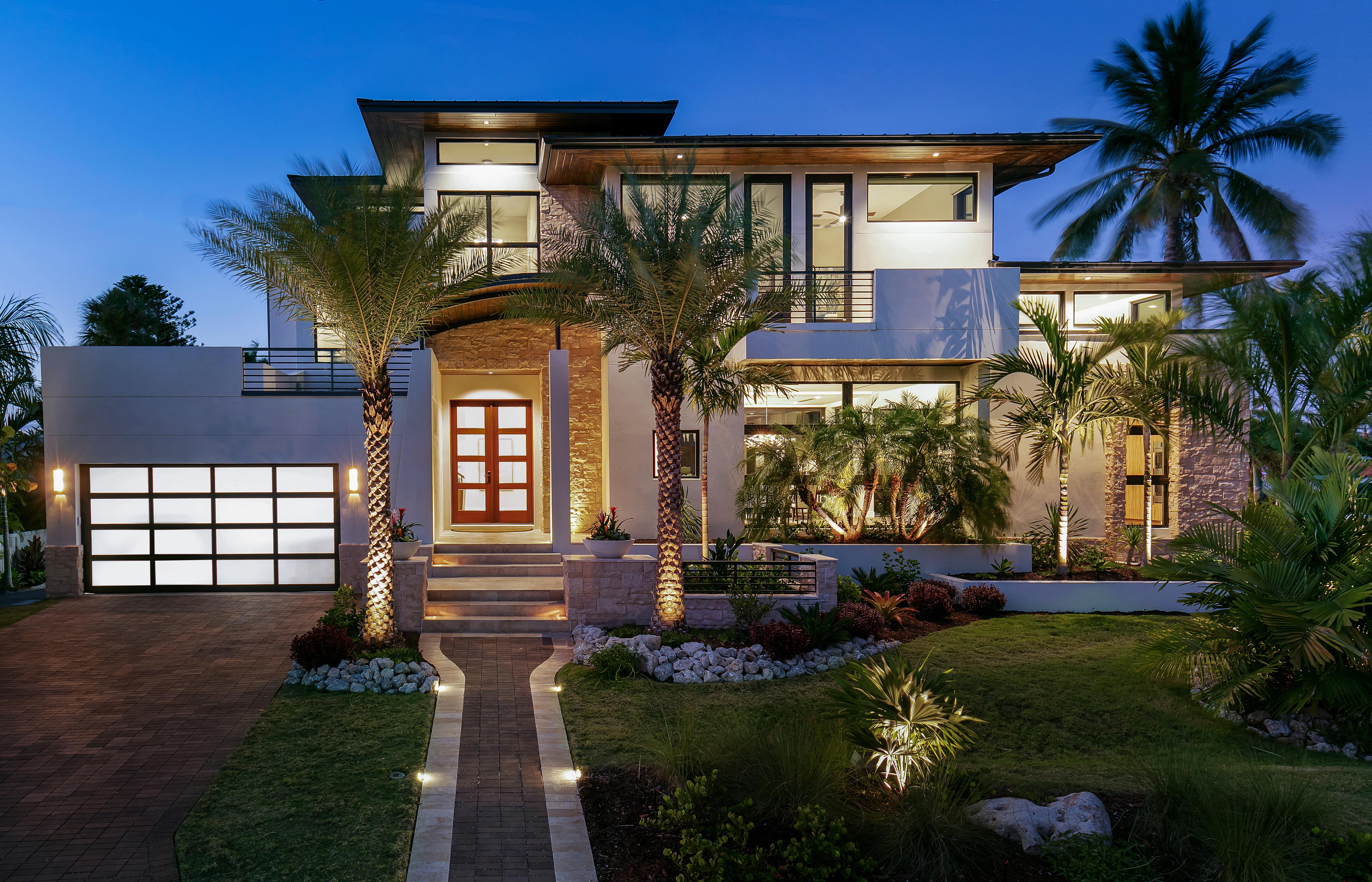 Midcentury modern style luxury home exterior