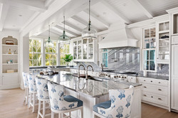 Coastal modern kitchen with gray and blue accents