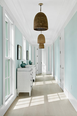 Hallway space with pendant lighting