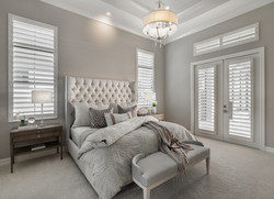 Modern bedroom in greys and neutral tones