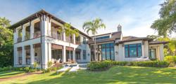 Exterior shot of Coastal Dutch home built buy Perrone Construction