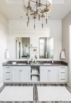 Master bath with chandelier and dual sinks