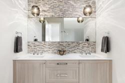 Modern gray and white bathroom