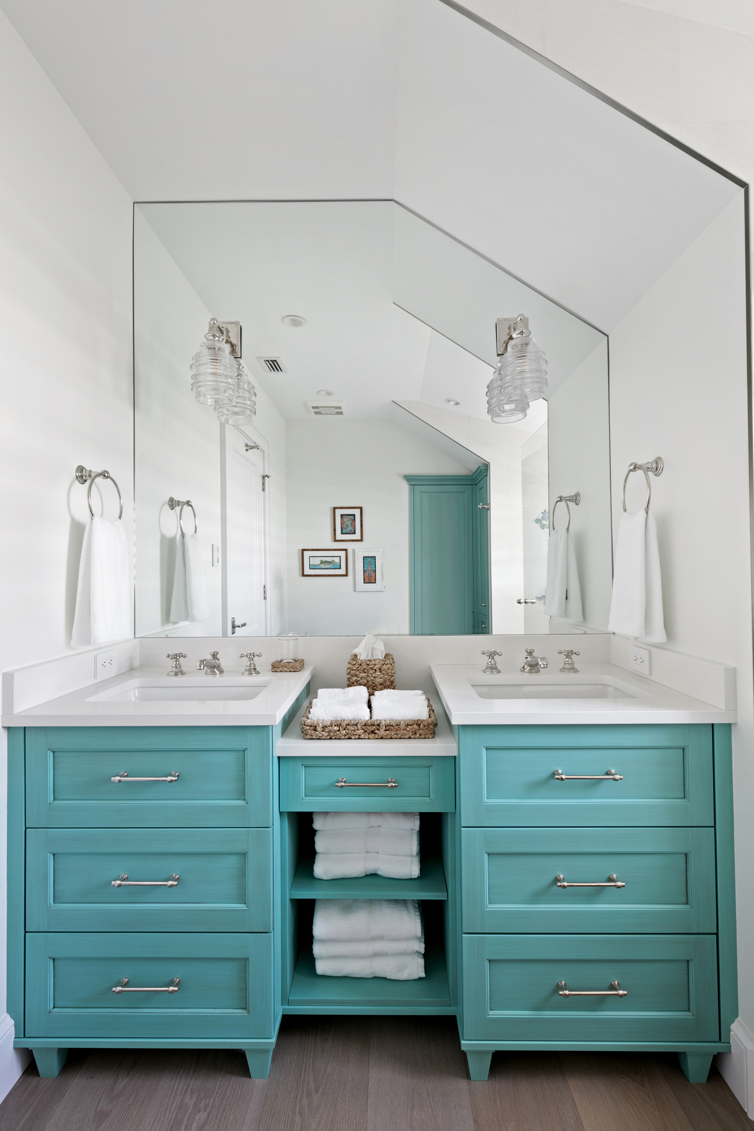 Dual sink bathroom in aqua and white