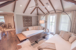 Vaulted ceiling living room design