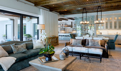 Contemporary open concept living room, dining room and kitchen