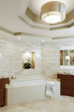 Neutral master bath with ceiling detail