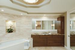 Luxury master bathroom in beige tones