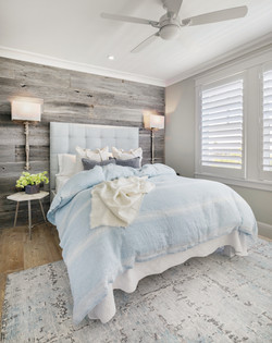 Guest bed in natural coastal tones and textures